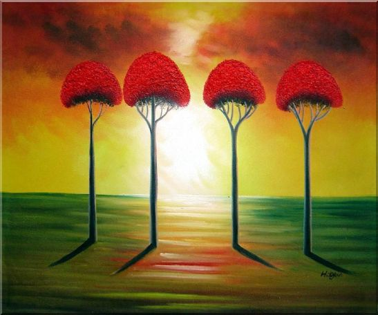 Four Glorious Red Trees at Sunset Oil Painting Landscape Modern 20 x 24 Inches