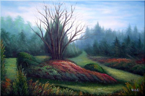 Leaveless Tree Surrounded by Luxuriant Plants Oil Painting Landscape Naturalism 24 x 36 Inches