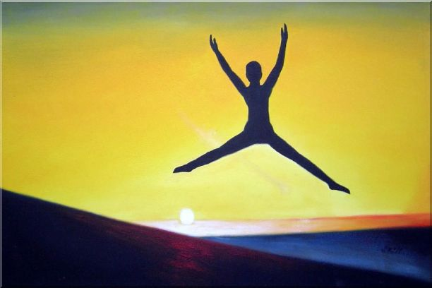 Jump Oil Painting Portraits Modern 24 x 36 Inches
