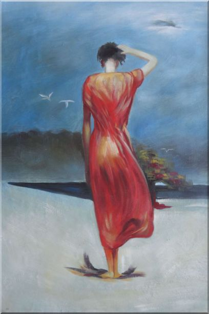 Beautiful Girl with Red Long Skirt Oil Painting Portraits Woman Impressionism 36 x 24 Inches