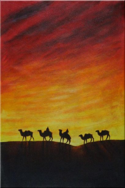 Camel Caravan in Sunset Oil Painting Animal Modern 36 x 24 Inches