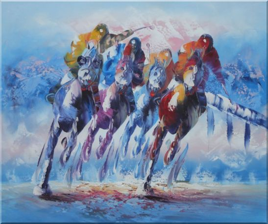 Spur on Galloping Horses in Racing Oil Painting Portraits Animal Modern 20 x 24 Inches