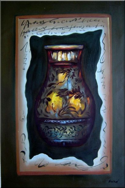 Precious Vase Oil Painting Still Life Modern 36 x 24 Inches