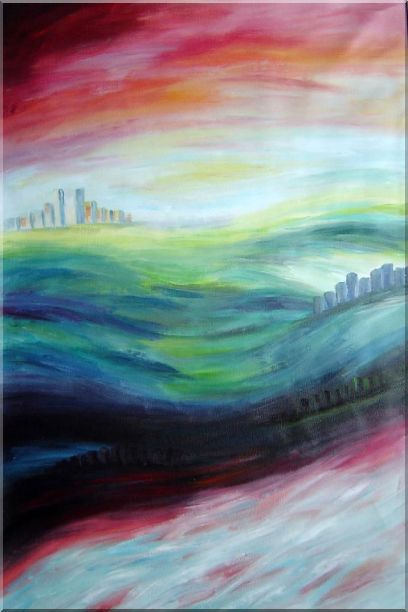 City upon Hills Oil Painting Cityscape Modern 36 x 24 Inches