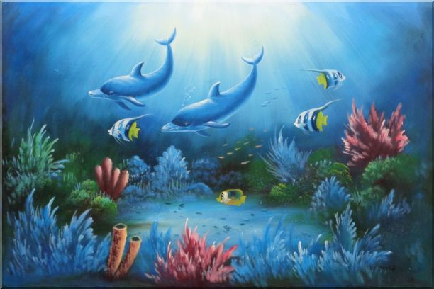 Magical Underwater Sea World Oil Painting Animal Marine Life Dolphin Fish Naturalism 24 x 36 Inches