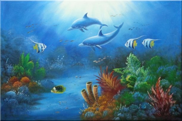 The Wonderful Sea World Oil Painting Animal Marine Life Dolphin Fish Naturalism 24 x 36 Inches