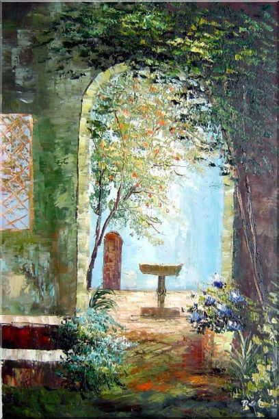 Charming Seaside Garden Porch Oil Painting Impressionism 36 x 24 Inches