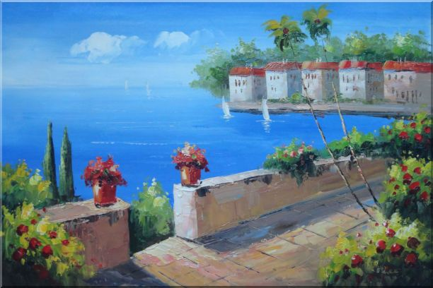 Seashore Garden in Serenity Bay in Summer Oil Painting Mediterranean Naturalism 24 x 36 Inches