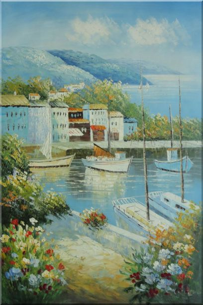 Italian Island Coast Sailing Boat and Flowers Town Oil Painting Mediterranean Naturalism 36 x 24 Inches