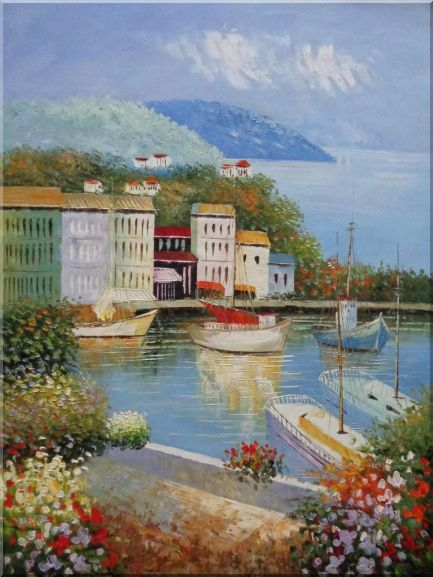 Italian Island Coast Sailing Boat and Flowers Town Oil Painting Mediterranean Naturalism 48 x 36 Inches