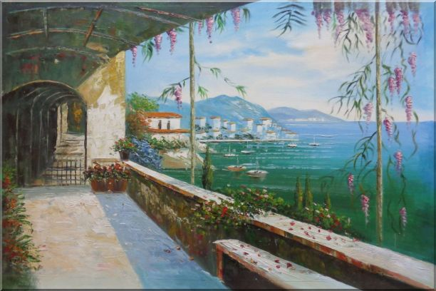 Scenic View of Mediterranean Floral Patio Oil Painting Naturalism 24 x 36 Inches