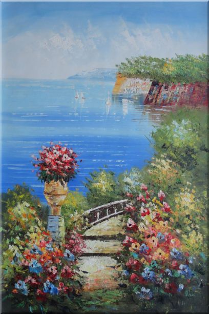 Steps by the Bay Oil Painting Mediterranean Naturalism 36 x 24 Inches