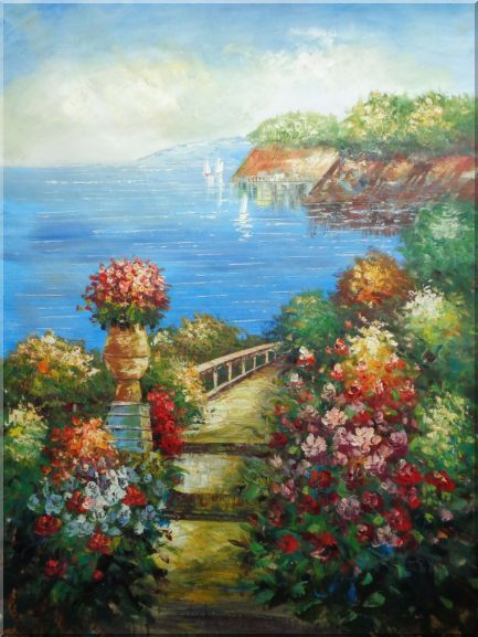 Steps by the Bay Oil Painting Mediterranean Naturalism 48 x 36 Inches