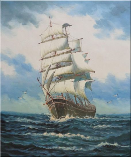 A Big Barque Sailing Ship's Ocean Journey Oil Painting Boat Classic 24 x 20 Inches