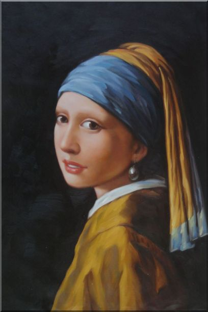 Girl with a Pearl Earring - Jan Vermeer Reproduction Oil Painting Portraits Woman Classic 36 x 24 Inches