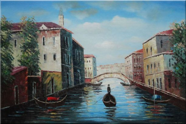 Italian Venice Water Street Scene Oil Painting Italy Naturalism 24 x 36 Inches