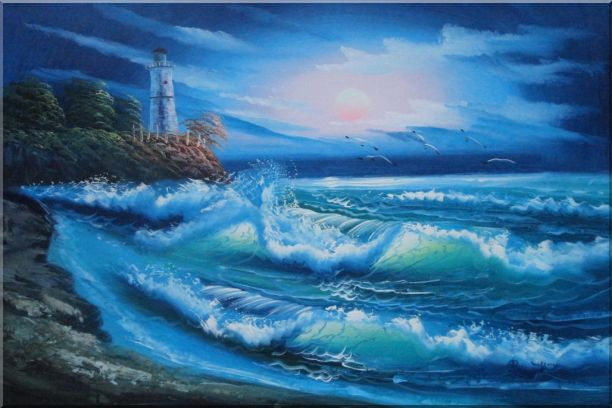 Sunset Lighthouse Oil Painting Seascape America Naturalism 24 x 36 Inches