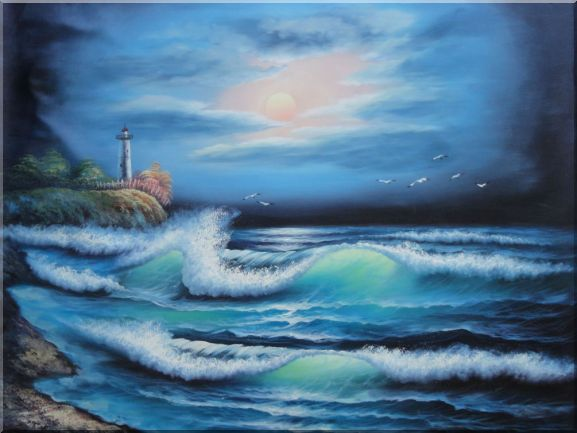 Sunset Lighthouse Oil Painting Seascape America Naturalism 36 x 48 Inches
