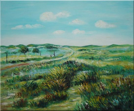 Panoramic View of Countryside Oil Painting Landscape Naturalism 20 x 24 Inches
