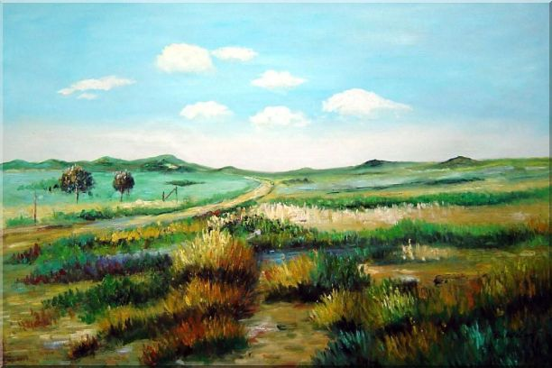 Panoramic View of Countryside Oil Painting Landscape Naturalism 24 x 36 Inches
