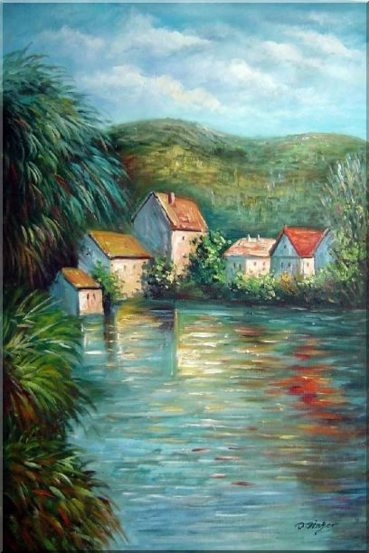 Lakeside Red Roof Houses Oil Painting Landscape River Impressionism 36 x 24 Inches