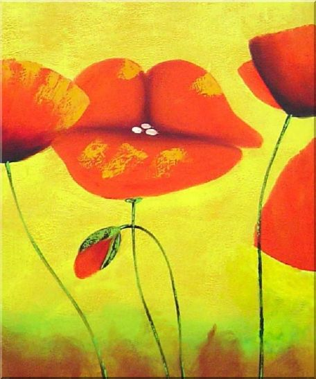Blooming Red Poppies - 3 Canvas Set 3-canvas-set,flower decorative  24 x 60 inches