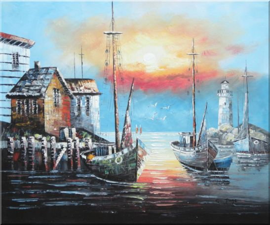 Fishing Boats on Port At Sunset Oil Painting Naturalism 20 x 24 Inches