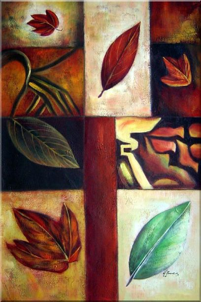 Leaves on Patches Oil Painting Still Life Decorative 36 x 24 Inches