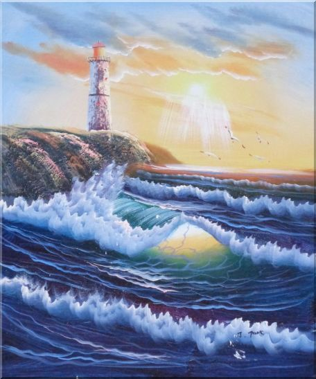Lighthouse, Sea Waves, Cliffs, Seagulls at Sunset Oil Painting Seascape Naturalism 24 x 20 Inches