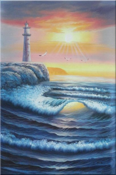 Lighthouse, Sea Waves, Cliffs, Seagulls at Sunset Oil Painting Seascape Naturalism 36 x 24 Inches