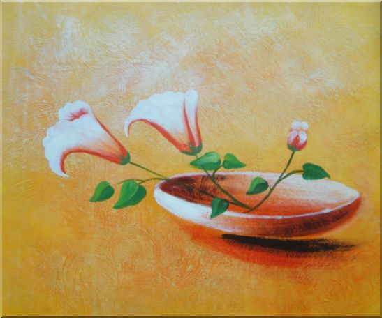 Three Flowers in Earthen Plate Oil Painting Modern 20 x 24 Inches