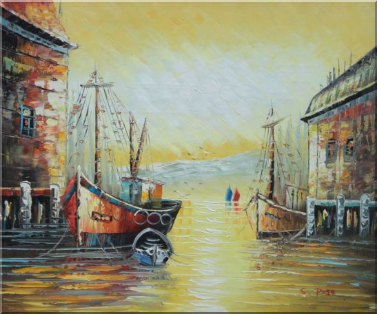 Fishing Boats Parks on Port Village Oil Painting Naturalism 20 x 24 Inches
