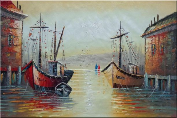 Fishing Boats Parks on Port Village Oil Painting Naturalism 24 x 36 Inches