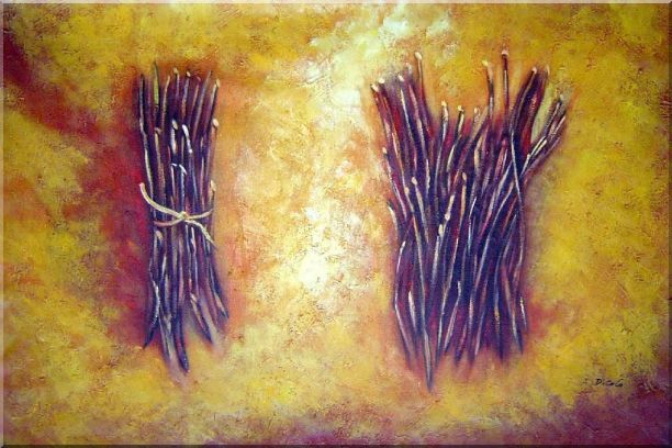 Two Bundles Of Firewood Oil Painting Still Life Modern 24 x 36 Inches