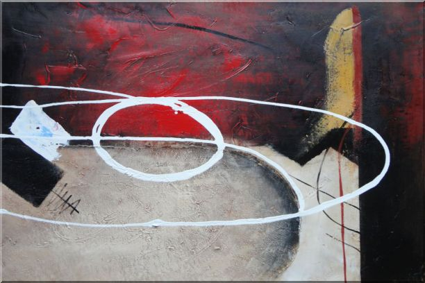 White Circle Lines in Black, Red and Sand Background Oil Painting Nonobjective Decorative 24 x 36 Inches