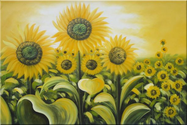 Glorious Sunflower Field Oil Painting Landscape Naturalism 24 x 36 Inches