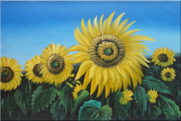 Glory of Sunflowers Oil Painting Landscape Field Naturalism 24 x 36 Inches
