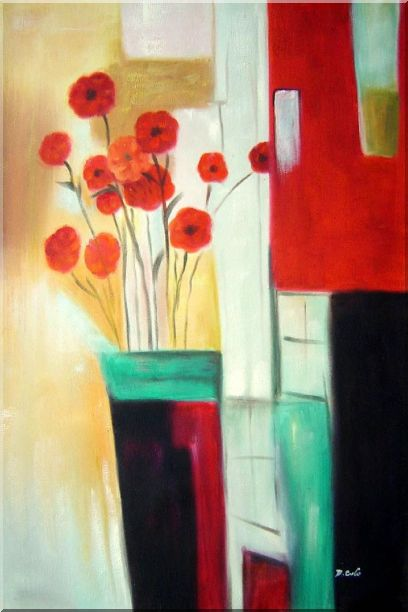 Red Blooming Flowers Oil Painting Decorative 36 x 24 Inches