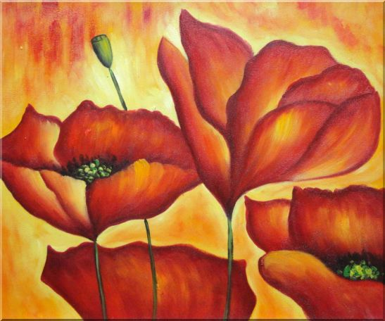 Fire Red Flowers In Yellow And Red Background Oil Painting Modern 20 x 24 Inches
