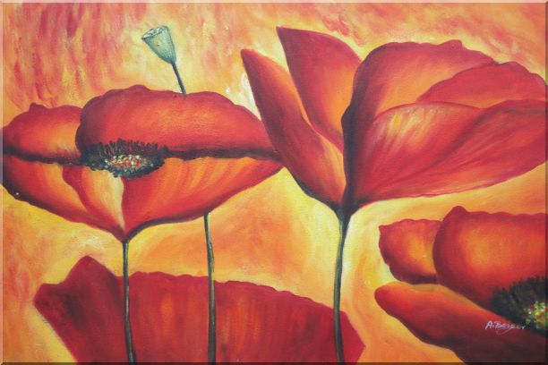 Fire Red Flowers In Yellow And Red Background Oil Painting Modern 24 x 36 Inches