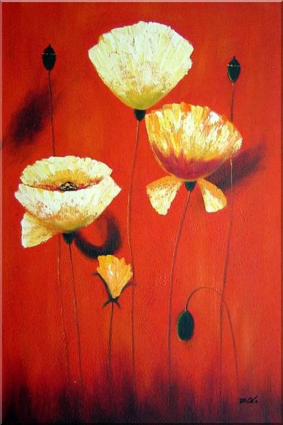 Yellow White Flowers In Red Background Oil Painting Modern 36 x 24 Inches