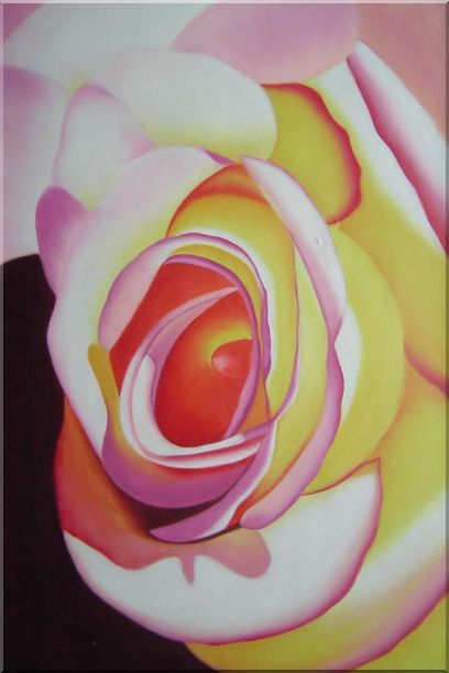 Fresh Blooming Pink Rose Painting Oil Flower Naturalism 36 x 24 Inches