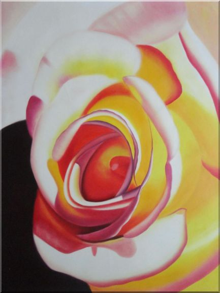 Fresh Blooming Pink Rose Painting Oil Flower Naturalism 48 x 36 Inches