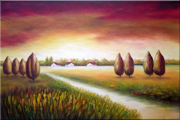 Path to a Village Oil Painting Landscape Tree Modern 24 x 36 Inches