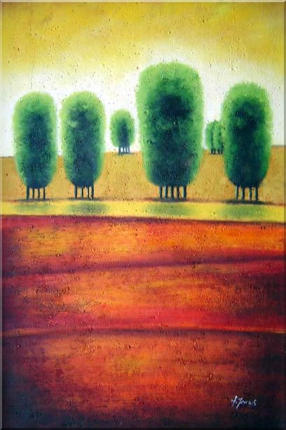 Red Soil Painting Landscape Tree Modern 36 x 24 Inches