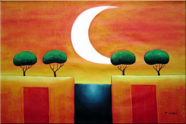 Four Modern Green Trees in Moonlight Oil Painting Landscape 24 x 36 Inches