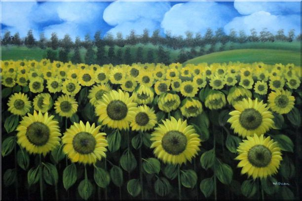 Endless Yellow Sunflower Field Oil Painting Landscape Naturalism 24 x 36 Inches