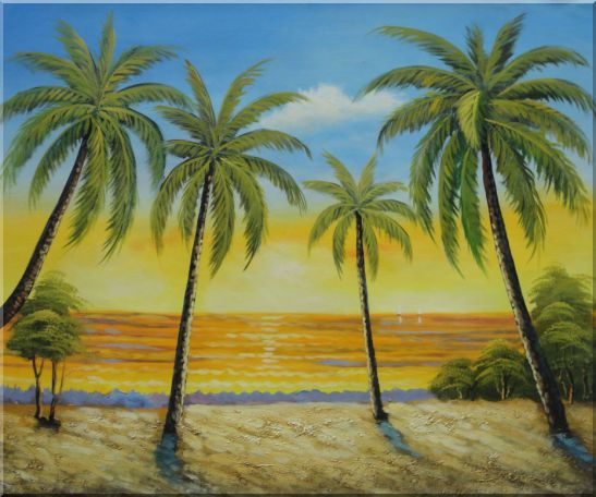 Seashore Palm Trees on Sunset Oil Painting Seascape America Naturalism 20 x 24 Inches