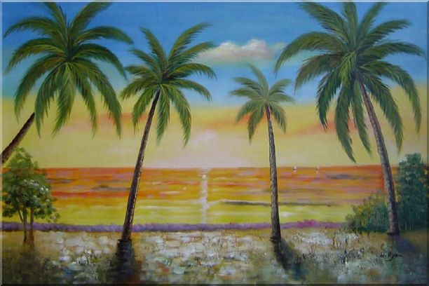 Tropical Paradise of Palm Trees on Sunset at Seaside - 2 Canvas Set 2-canvas-set,seascape, america naturalism  24 x 72 inches