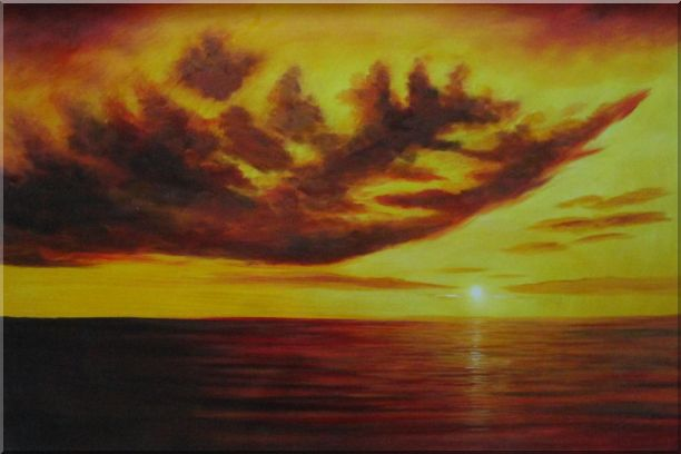 Beautiful Golden Sunset Skyscapes Oil Painting Seascape America Naturalism 24 x 36 Inches